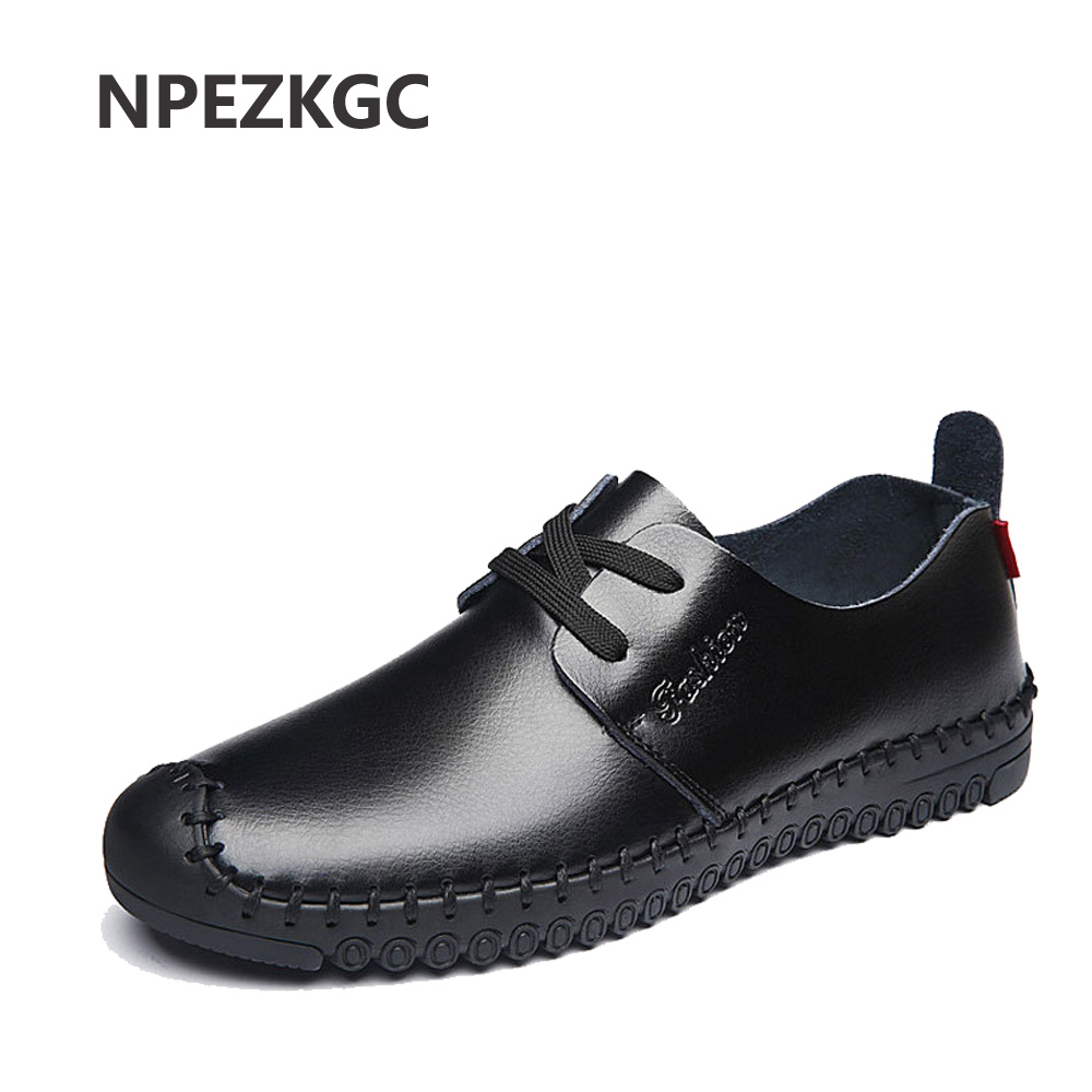 NPEZKGC Men Flats Fashion High Quality Genuine Leather Shoes For Man Lace-Up Casual Men Shoes Comfortable Loafers men dxkzmcm genuine leather men loafers comfortable men casual shoes high quality handmade fashion men shoes