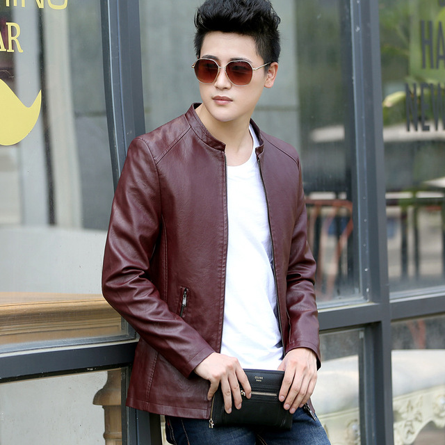 2017 Spring New fashion Style Leather Jacket Men Business Slim ...