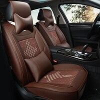 Шелк льда и кожаный чехол автокресла для Audi a3 8 P 8l Спорт A6L R8 Q3 Q5 Q7 Quattro a4 A6 A8 Чехлы для автокресла укладки