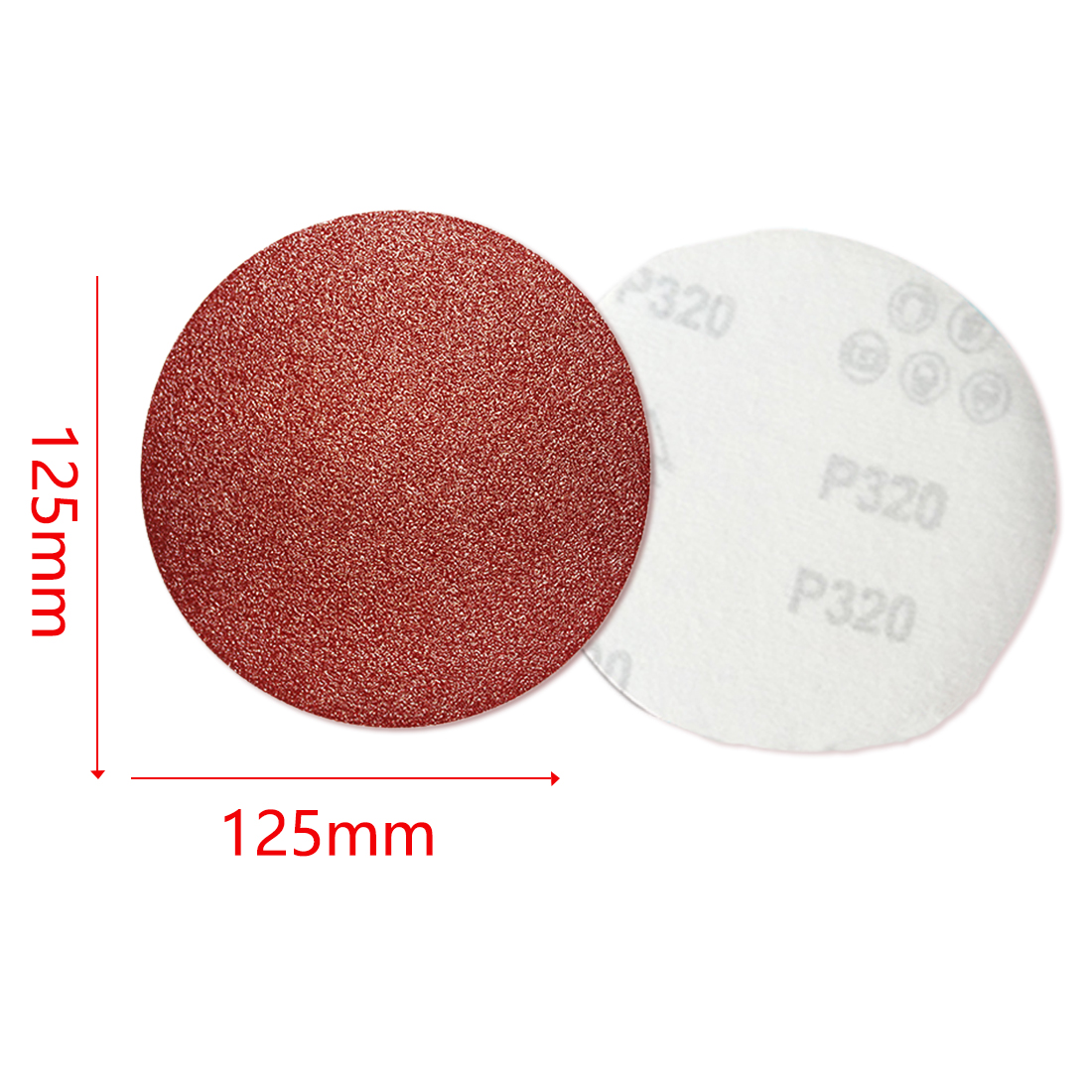 5pcs 125mm Red Circular Flocking High Quality Polishing Disc With Grits 80-1000 Metal Polishing Carpenter Sand Paper
