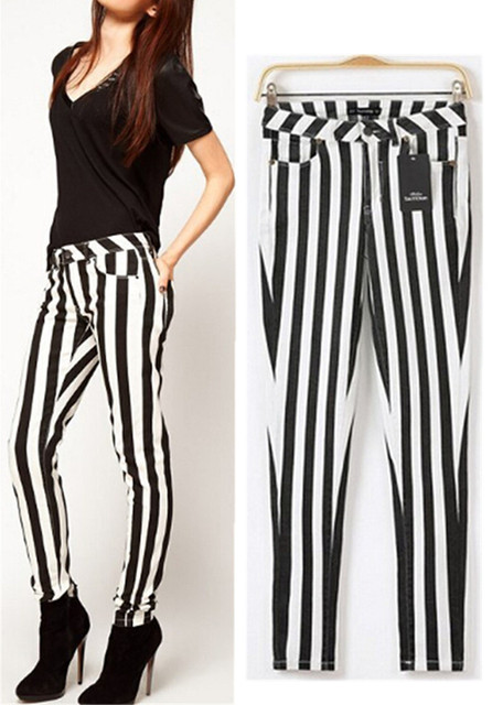 2014 Women's Contrast colors Vertical Striped Stretch Pencil Pants Ladies Slim Elastic Tight Trousers