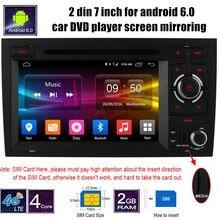 7 ДЮЙМОВ 2 din Android 6.0 dvd-плеер автомобиля аудио стерео GPS WIFI управления рулевого колеса для A/udi A4 2002-2008