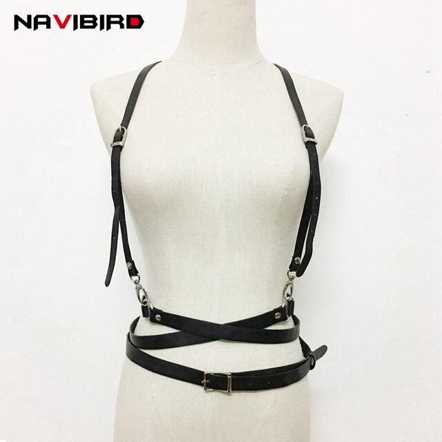 80ae60a3cc Trending Sexy Pu Leather Harness belt Women NightClub Multi-Lap strap Black  Bdsm Suspenders Body Bondage Corset Waist Belt