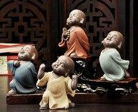 ÜST Marvellous Manevi SANAT hediye #4 P Budizm OFIS ev Buda CHAN DAO Küçük Keşiş kum-ateş fırın porselen çömlek SANATı