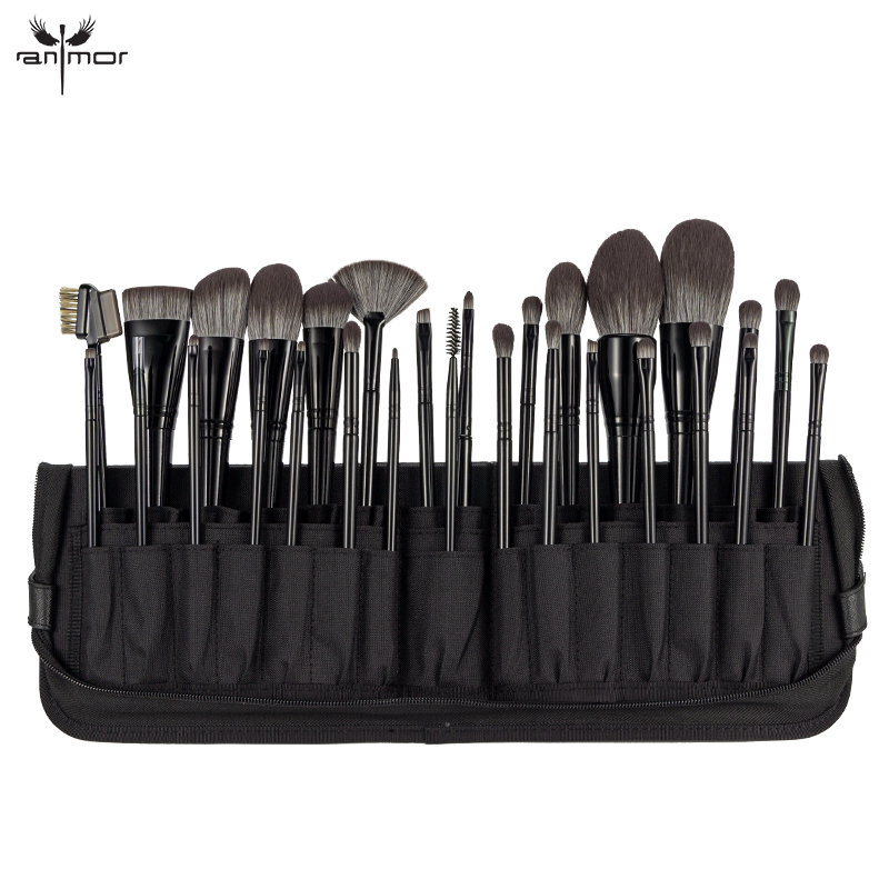 2019 Anmor 29PCS Make Up Brush High Quality Nylon Hair Foundation Eye Shadow Concealer Makeup Brushes With Black Cosmetic Bag