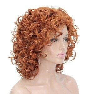 Image 3 - Strong beauty perruque synthétique complète moyenne bouclée pour femmes, perruque naturelle complète Blonde/Auburn, 7 couleurs