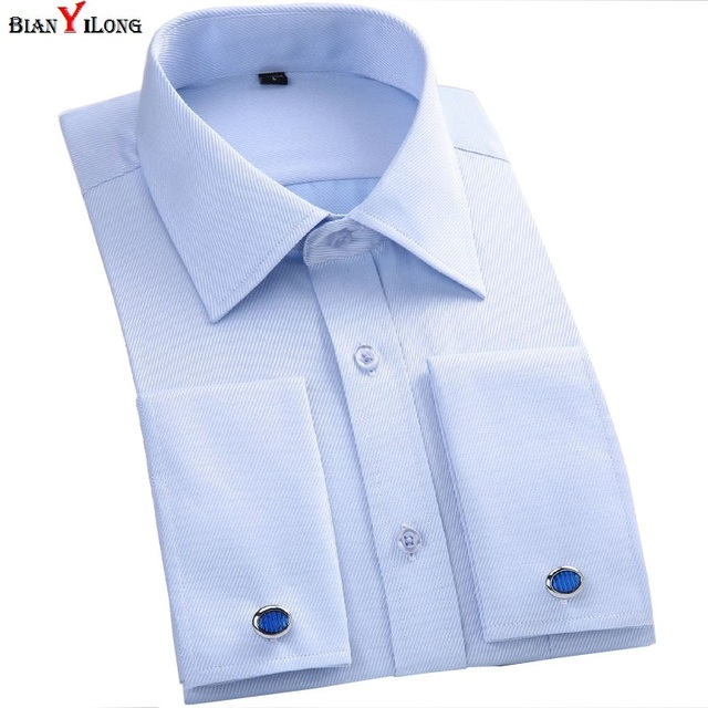 0d57877c7ac7 White/Black French Cuff Button Men's Dress Shirts French Cuff Blue White  Long Sleeved Business Casual Shirt Slim Fit Solid Color