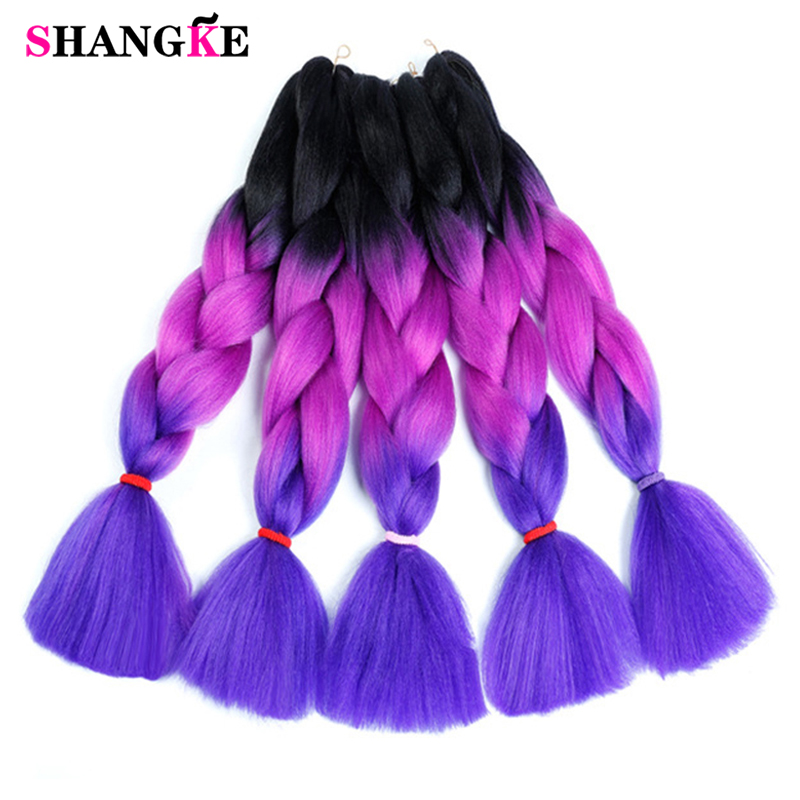 SHANGKE 24'' 100g/pc Synthetic Ombre Braiding Hair Crochet Braids Hairstyles Hair Extensions Purple Pink Black(China)