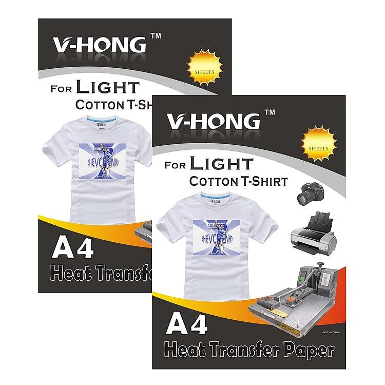 Inkjet Iron-On Branco e Luz Colorida T Camisa Transferência de calor Papel 8.27