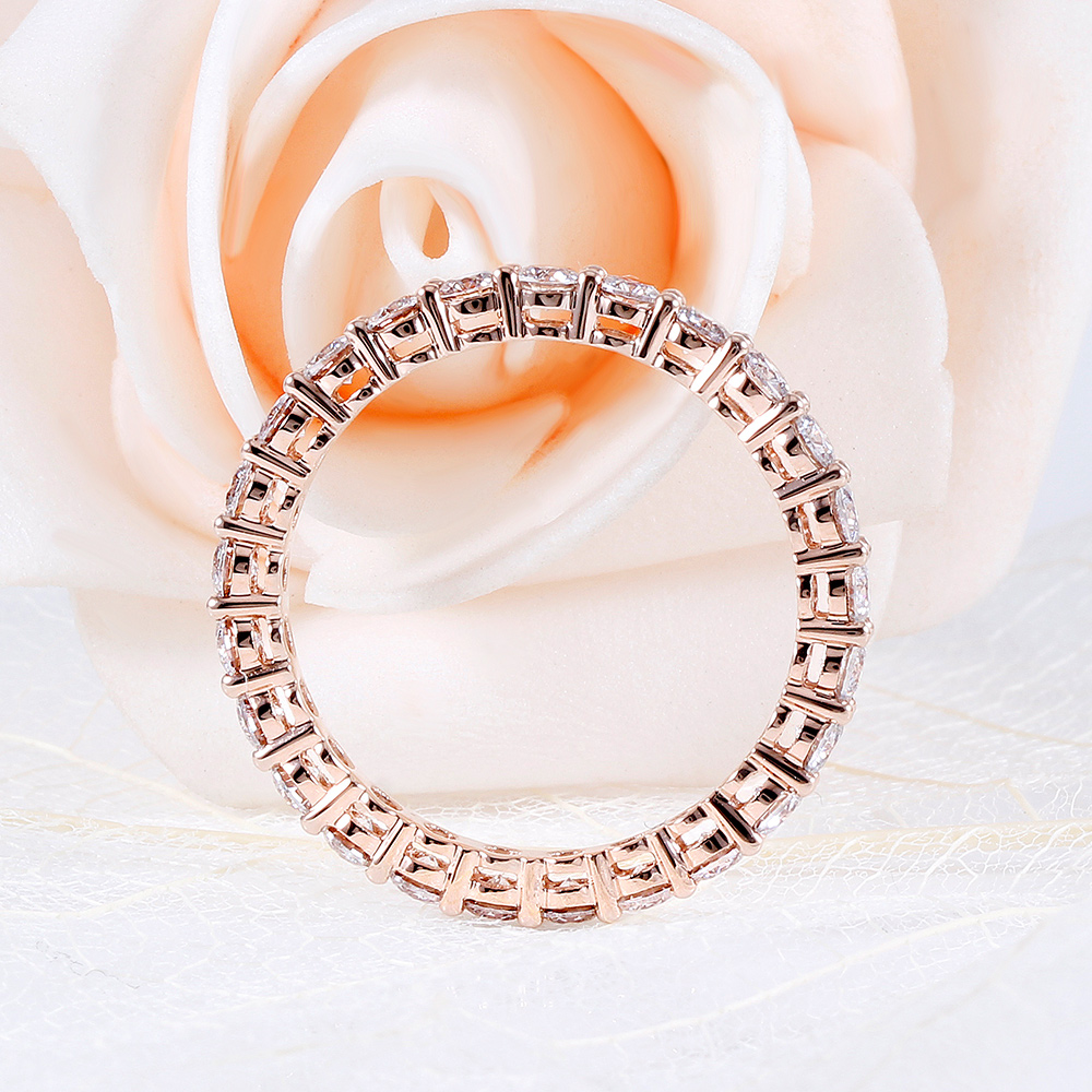 TransGems 14K 585 Rose Gold 1 2CTW to 1 8CTW 2 5mm F Color Moissanite Full Eternity Wedding Band for Women Gift Dailywear ring in Rings from Jewelry Accessories