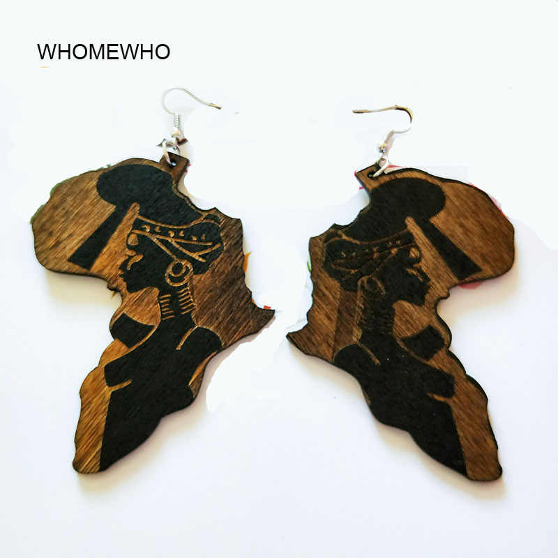 Brown Wood Africa Map Tribal Engraved Tropical Fashion Black Women Earring Vintage Retro Wooden African Hiphop Jewelry Accessory