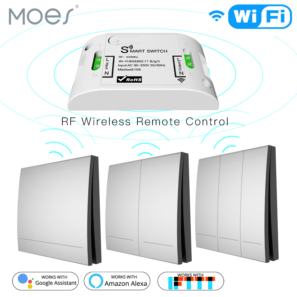 <font><b>RF433Mhz</b></font> 110V 220V Receiver Wifi Wireless Remote Control Smart Switch With Smart life/Tuya APP ,Works with Alexa Google Home. image