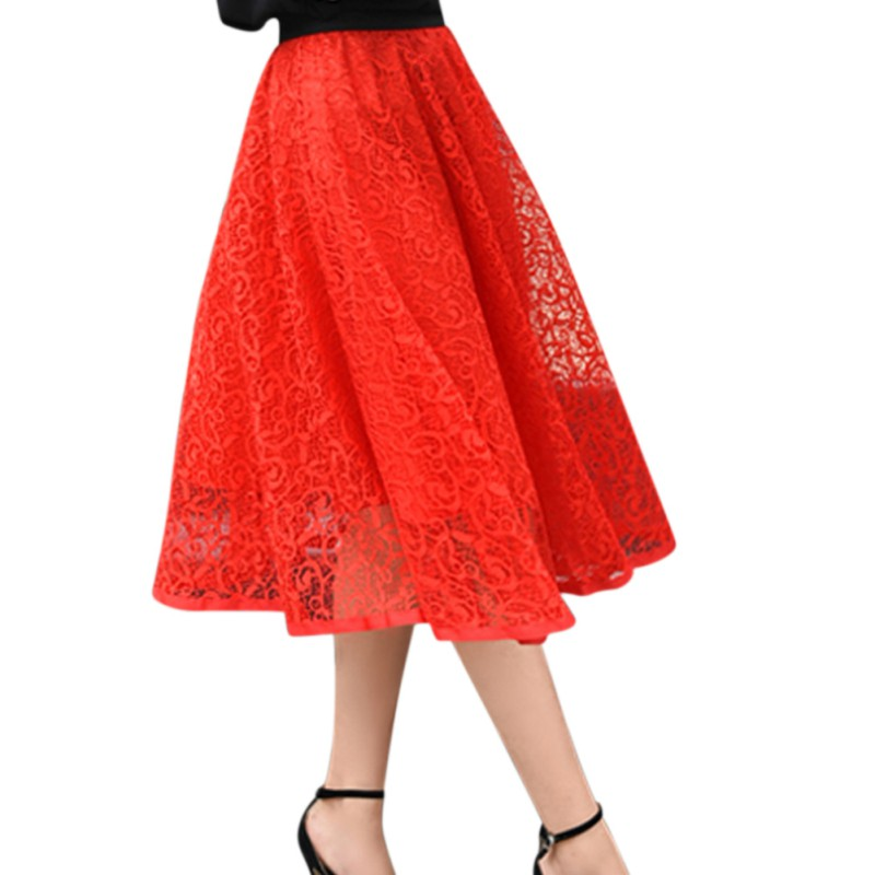 New Pop Women High Waist Lace Floral Ball Gown Skirt Summer Ladies Skirts Fashion Solid Casual Elastic Mid-Calf Skirt