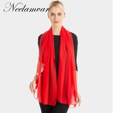 Neelamvar classical solid scarf women autumn winter thin shawl wraps from india new 2018 fashion smooth silk scarves lady hijab