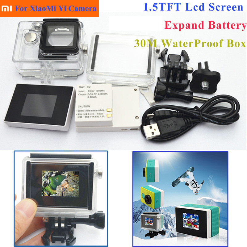Suptig 3 In1 Kit Lcd display Screen+Extend Battery+Waterproof Housing Case +Adapter For Xaiomi Yi Action Camera Accessories Set social housing in glasgow volume 2