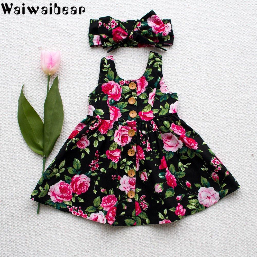 Waiwaibear Vestidos Sem Mangas Crianças Vestidos de Verão Do Bebê Crianças Meninas Trajes Com Botão Princesa Vestido da menina de roupas
