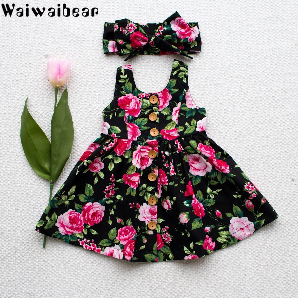 Waiwaibear Summer Baby Kids Girls Dresses Sleeveless Costumes With Button Princess Dress girl clothes
