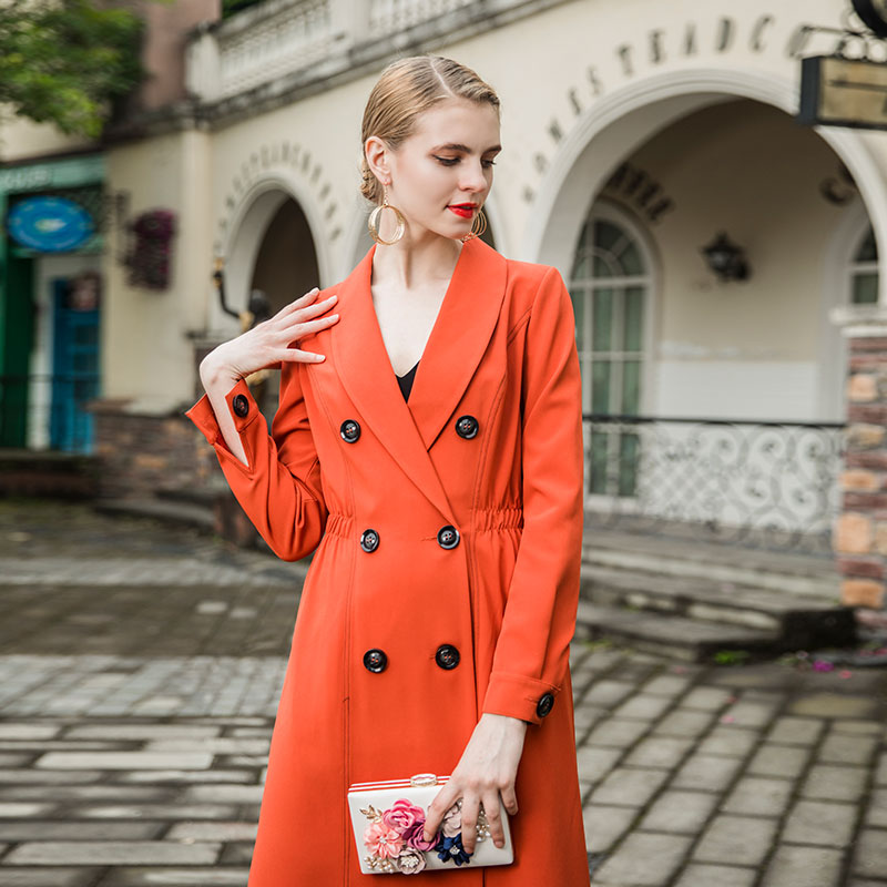 3e4adc1ffef5a Quality Women Autumn Maxi Long trench coat 2018 Lady Double breasted Orange  Elegant Outerwear Plus size M XXXL-in Trench from Women s Clothing on ...