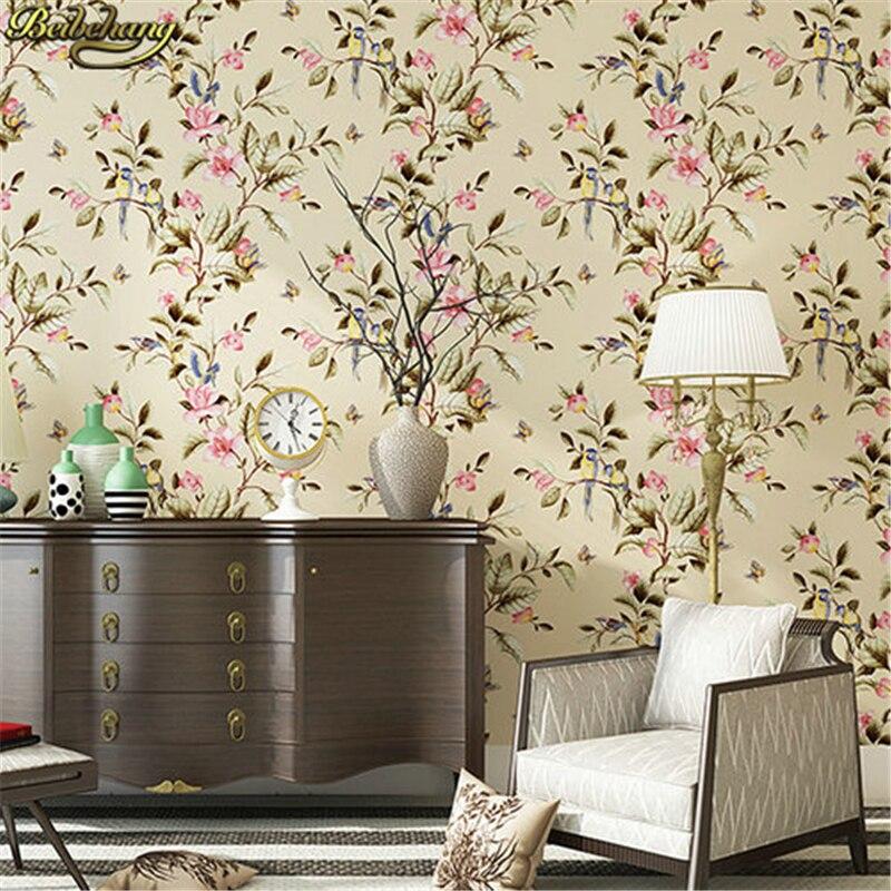 Flores pássaros beibehang não tecidos rolo de papel de parede de fundo TV sala de estar quarto papel de parede para parede do quarto país da América