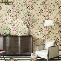 Papel de pared de pájaros de flores de beibehang no wovens rollo de fondo de TV sala de estar dormitorio país americano papel tapiz para pared