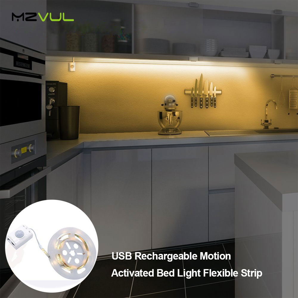 USB Rechargeable Motion Activated Bed Light Flexible Strip Sensor Night Light Automatic Shut Off Timer for Kitchen Stair Cabinet for dual motion activated bed light flexible led strip sensor night with automatic shut off timer promotion