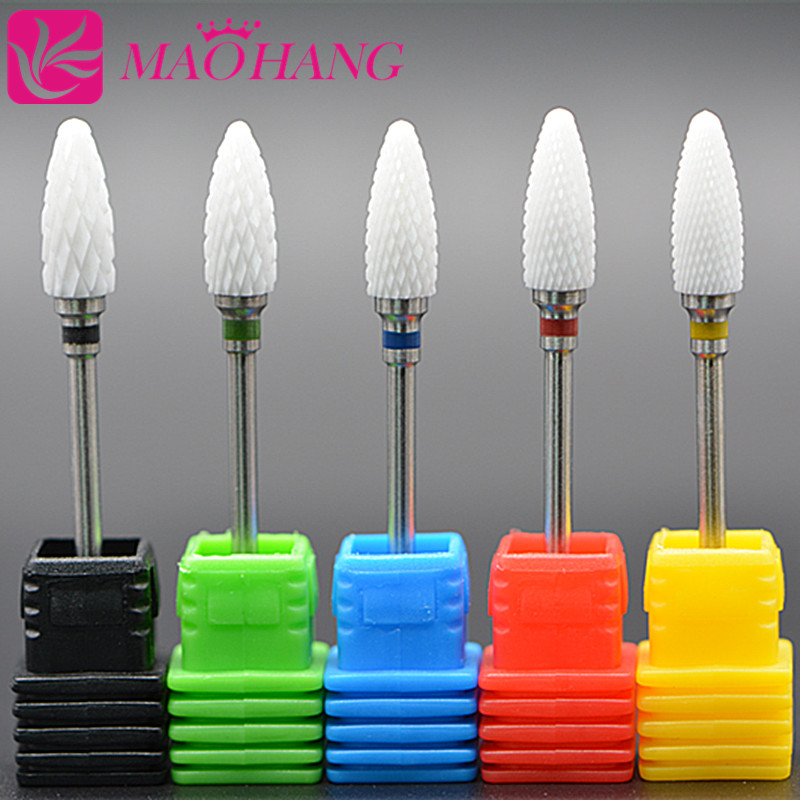 "MAOHANG 1 PCS Hot-selling Ceramic Drill Bit Nails 3/32"" White Ceramic Burr Bits For Manicure Professional Nail Tools Nail Mills"