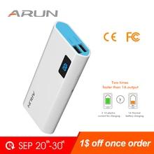 цена на ARUN 10000 mah Power Bank External Batteries Portable Mobile Phone Backup Bank with Double USB Interface Charger Portable Power