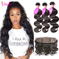 Natural Hair Brazilian Body Wave With Closure 3 Bundles 7a Light Brown Body Wave Frontal With Bundles 13x4 Lace Frontal Closure