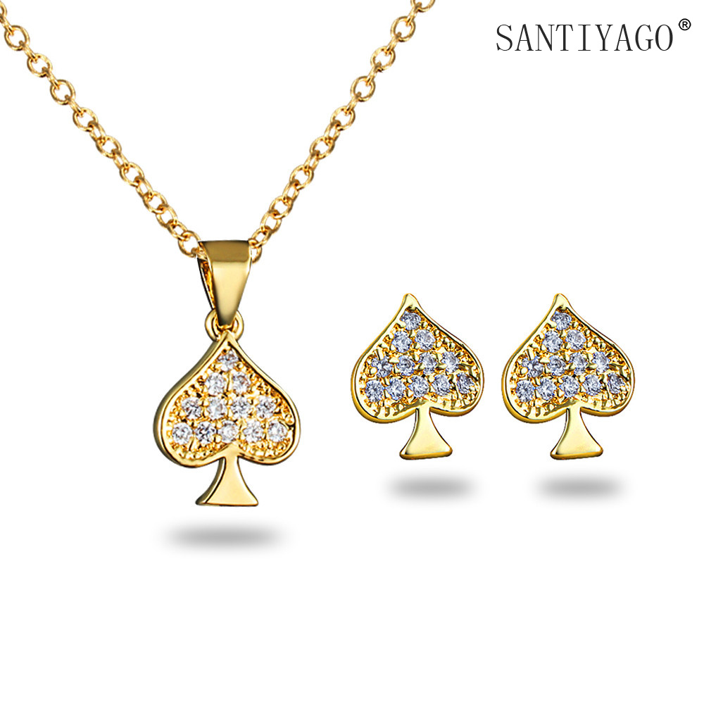 Spade Jewelry Set Gold Plating Necklace Earrings Set Party Dress for Women