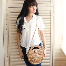 REREKAXI Handmade Rattan Woven Round Lady's Handbag Straw Knit Summer Beach Bag Woman Shoulder Messenger Bag Khaki Beige Tote(China)