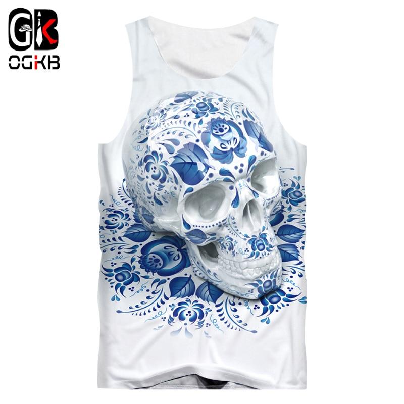 Colorful Floral Leaf Skull Mens Summer Vest 3D Print Tank Top Singlet Sleeveless