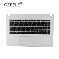 GZEELE Nouveau US Clavier pour Asus X450C X450 X450CA X450CC X450CP X450L X450LA supérieure C Cas Anglais Ordinateur Portable repose-poignets top case cadre