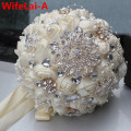 Handmade Top Quality Beaded Brooch Silk Bride Bridal Wedding Bouquet Bridesmaid Europe Us Ivory Artificial Flower PL001