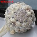 Handmade Top Quality Frisado Broche de Noiva Nupcial Buquê de Casamento Da Dama de honra de Seda Europa Eua Marfim Flor Artificial PL001