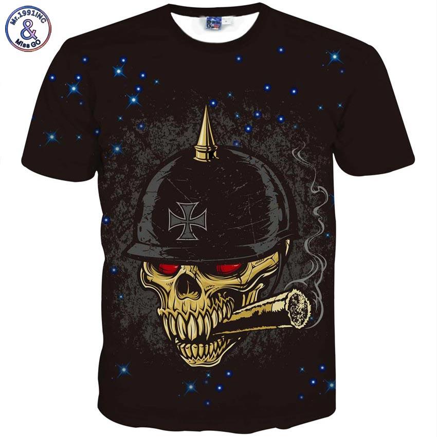 Summer men 3D t-shirt hip hop harajuku funny print stars and red eyes smoking skull short sleeve t shirt cool funny tops tees