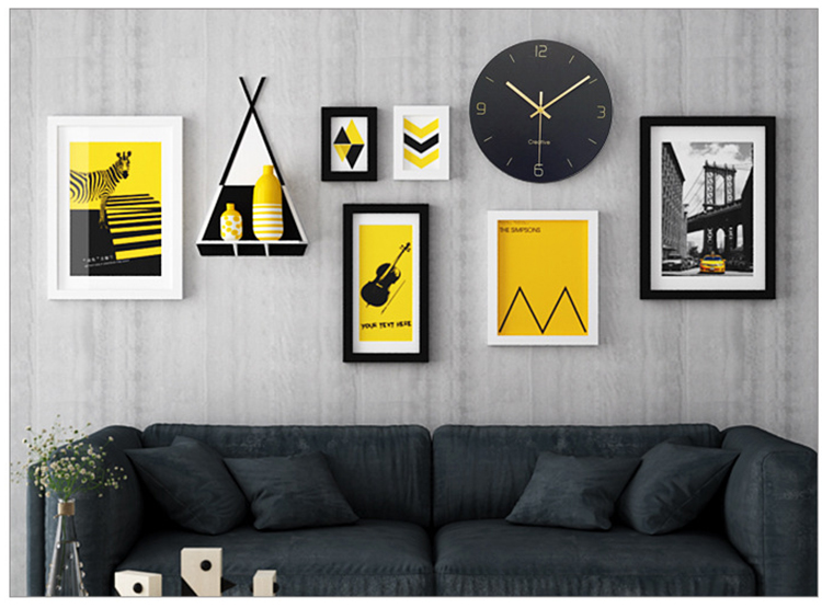 Wood-Photo-Frame-Wall-Clock-Decor-Modern-Mural-Home-Decoration-Accessories-Hanging-Picture-Frames- Pictures (1)