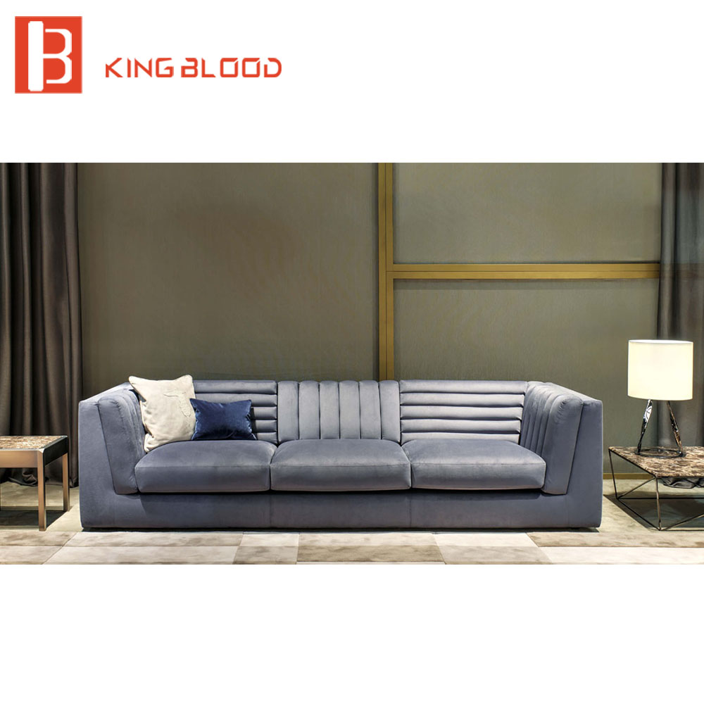 US $2445.0 |Modern elegant luxury crushed blue velvet sofa-in Living Room  Sofas from Furniture on AliExpress