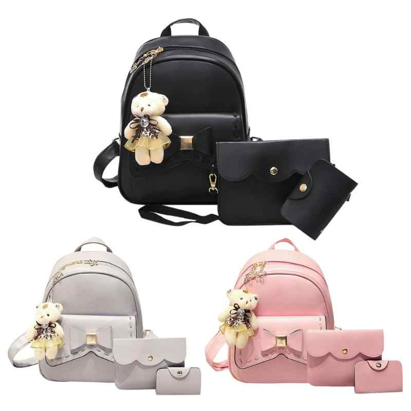 3pcs Women PU Leather Bowknot Backpack School Bag Crossbody Bag For Teenagers Casual Travel bag school laptop bag