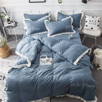 New Embroidered Yarn Washed Cotton Ruffled Four Piece Set Solid Color Embroidered Wedding Set Sheet Bedding