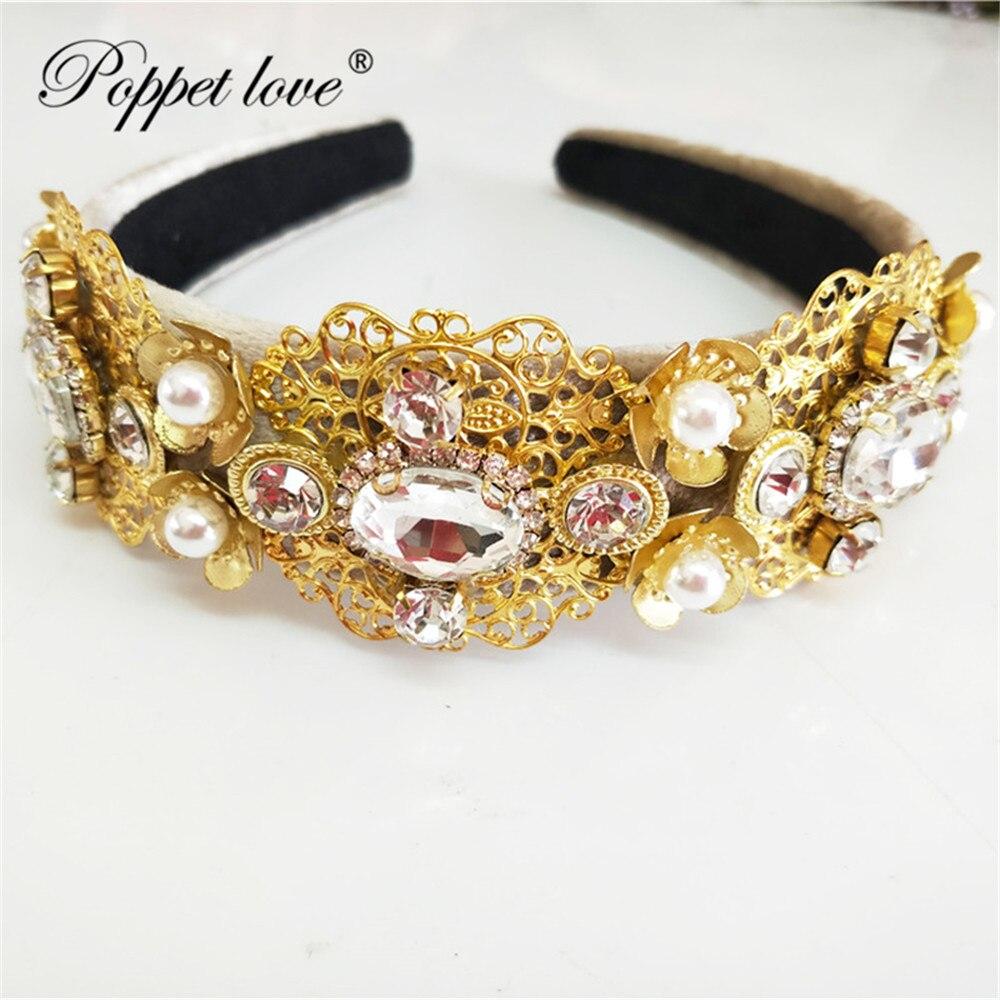 Schmucksets & Mehr Begeistert Gold Perle Kristall Brauthaarbänder Royal Tiaras Hochzeit Krone Stirnband Für Braut Haar Schmuck Hochzeit Zubehör Haar Tragen
