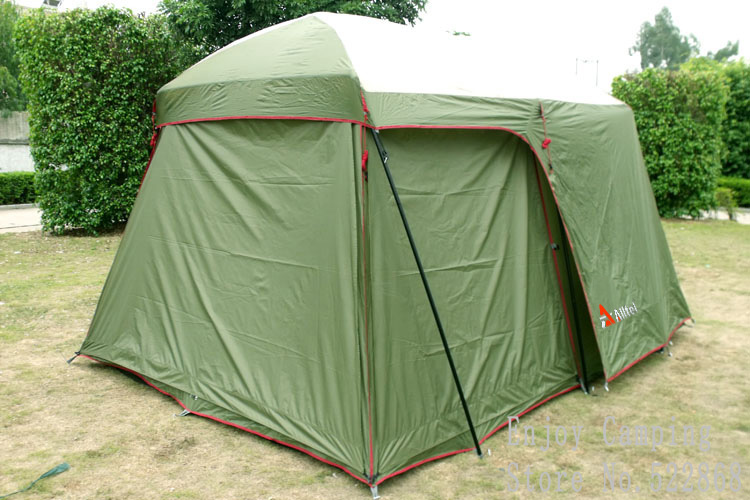 Double layer garden tent 3-4 person large family camping tent China Outdoor 4 season tourist waterproof tents 2 room with 3 wall tourist season