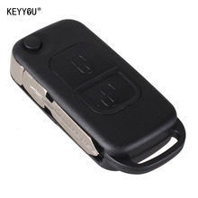 KEYYOU Car Style 2 Button Flip Folding Key Shell Case Entry Remote Key Cover Replacement for Mercedes Benz A C E S