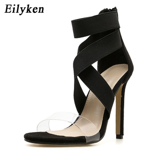 Image 3 - Eilyken New 2021 High Quqlity Women Sandals Open Toe Stiletto High Heels Summer Ladies Party Stretch Fabric Sandal Shoes