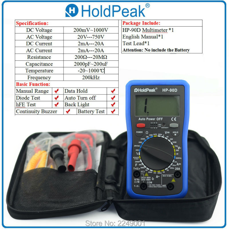 Multimetro Digital HoldPeak HP-90D 1000V Digital Multimeter Meter with Diode/hFE /Resistance /Capacitance Test multimetro holdpeak hp 770c digital lcr multimeter meter with ncv feature and inductance frequency test