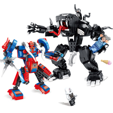 2019 New Superheroes Avengers Spiderman And Venom Mech Compatible Marvel Avenger Endgame Figures Building Blocks 76115