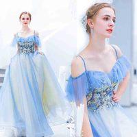 Plus Size 5XL Luxury Blue Party Dress Women Wedding Bridal Evening Formal Spaghetti Strap Dress For Lady Large Size 4XL 6XL