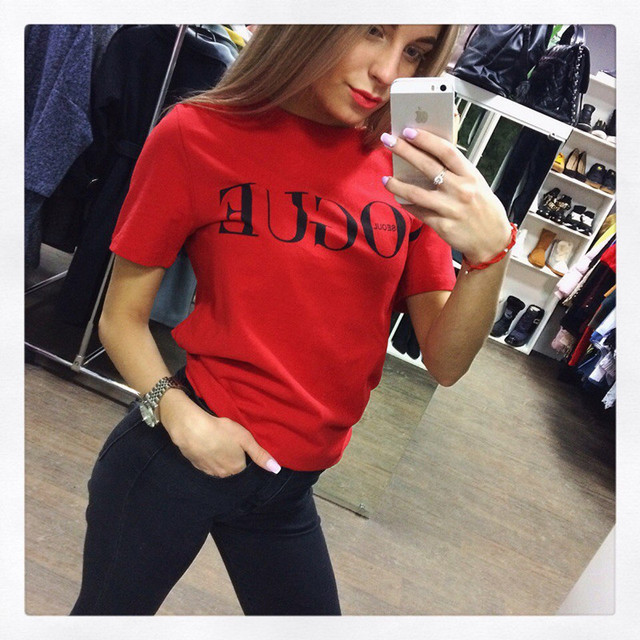 Women Summer VOGUE Short Sleeve T-Shirt High Cotton Fashion Red Letter Print Casual Knitwear