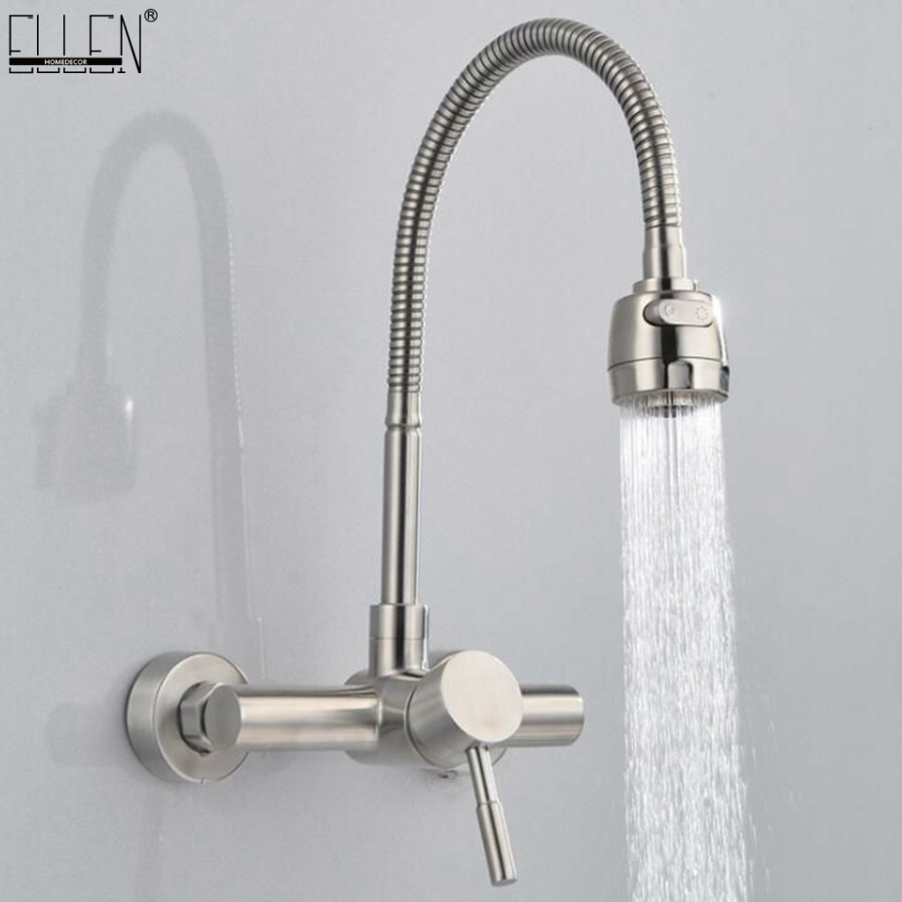 цена на Wall Mounted Kitchen Faucet Hot and Cold Water Mixer Crane Stainless Steel Two Hole Brush Nickel Kitchen Sink Faucets