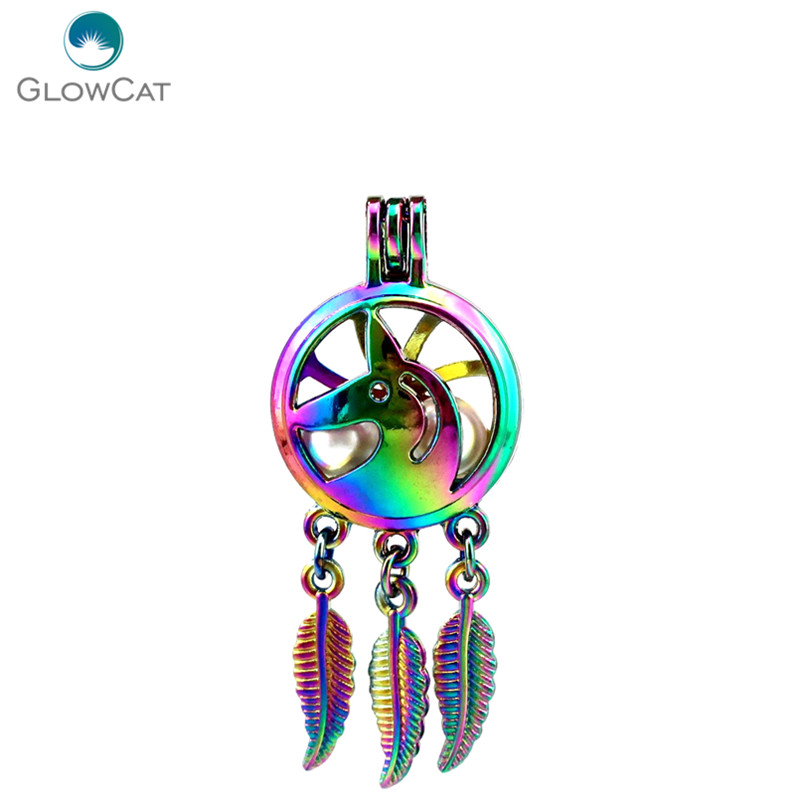 Jewelry & Accessories Necklaces & Pendants Imported From Abroad C739 5pcs/lot Rainbow Color Dream Catcher Unicorn Leaf Cage Pendant Pearl Locket Fairytale Party For Sale
