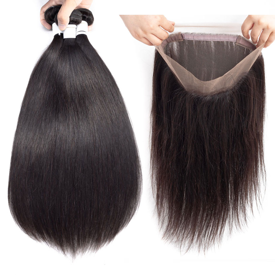 Human Hair Weaves Clover Leaf Peruvian 360 Lace Frontal Human Hair Weave 3 Bundles With Straight 360 Lace Frontal Remy Hair Extensions Hair Extensions & Wigs
